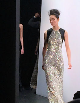 A gold shimmer dress from Carmen Marc Valvo